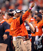 Oct. 15, 2011-Charlottesville, VA.-USA- Virginia Cavaliers head coach Mike London signals to the fans with second left on the clock during an ACC football game against the Georgia Tech at Scott Stadium. Virginia won 24-21. (Credit Image: © Andrew Shurtleff