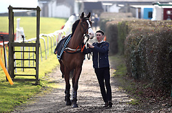 Grooms lead the horses down to the parade ring during the Injured Jockeys Fund Charity Raceday at Plumpton Racecourse.