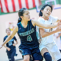 Thoreau Hawk Christen Martinez (4) guards  driving Wingate Bear Danielle Belone (11) during the Wingate Holiday Classic girls basketball tournament third-place game at Wingate High School Saturday.