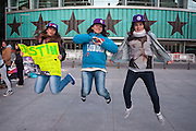 Naomi (16), Paola (17) and Miriam (15) waiting since one week for the concert of Justin Bieber at the Palacio de los deportes in Madrid