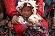 Child holdinig baby llama at Pisac market  Pisac, Peru