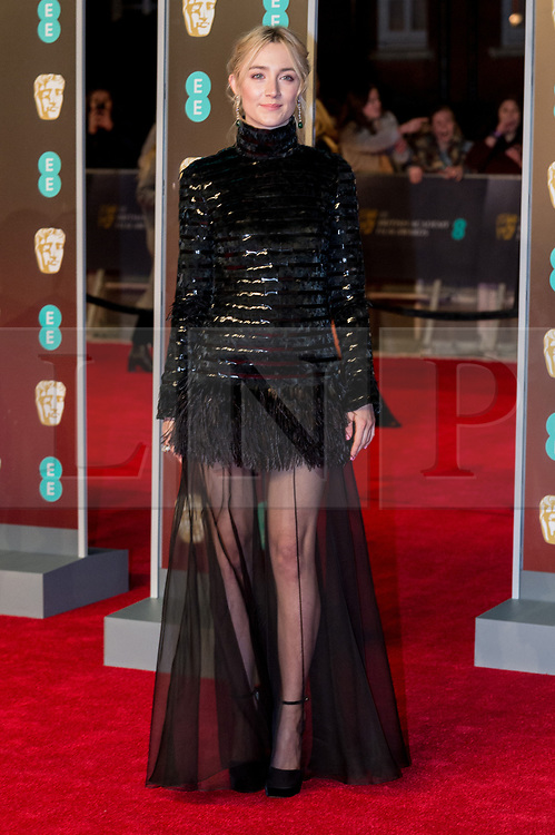 © Licensed to London News Pictures. 18/02/2018. SAOIRSE RONAN arrives on the red carpet for the EE British Academy Film Awards 2018, held at the Royal Albert Hall, London, UK. Photo credit: Ray Tang/LNP