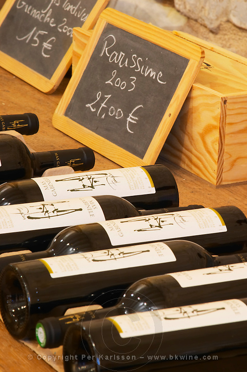 Rarissime. Domaine Mas Gabinele. Faugeres. Languedoc. The wine shop and tasting room. France. Europe. Bottle.