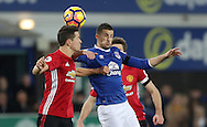 Kevin Mirallas of Everton and Ander Herrera of Manchester United during the Premier League match at Goodison Park, Liverpool. Picture date: December 4th, 2016.Photo credit should read: Lynne Cameron/Sportimage
