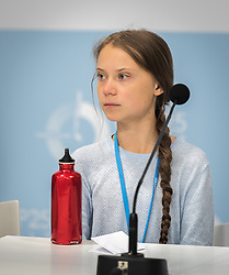 9 December 2019, Madrid, Spain: Press conference with Greta Thunberg and Fridays for Future, at COP25 in Madrid.