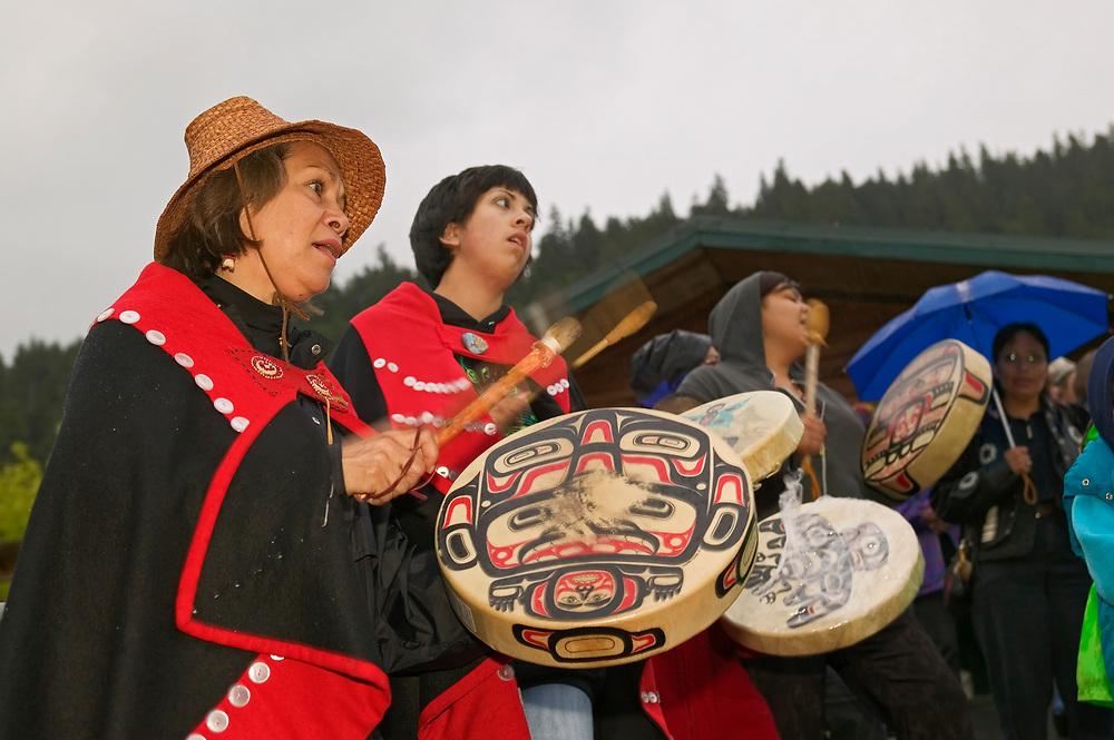 USA, Alaska, Inside Passage, Juneau, Welcoming Ceremony for biannual Sealaska Celebration 2004