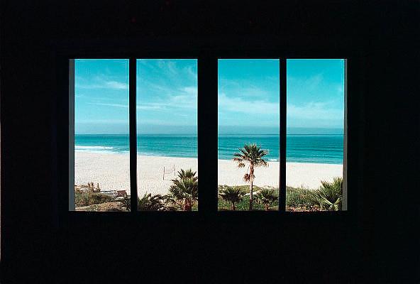 Spanje, Tarifa, 7-6-2006..Uitzicht vanuit hotel Dos Mares, eigenaar is een Nederlander, Hollander, op zee, straat van Gibraltar, en het strand. Middellandse zee, mediteraan. Associatie zonnig luieren.  ..Foto: Flip Franssen/Hollandse Hoogte
