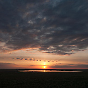 Sunset over Charles M. Russell National Wildlife Refuge during summer in Montana.
