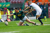 CAPE TOWN, SOUTH AFRICA - JUNE 23: Springbok player Jesse Kriel dives for the ball while England player Mike Brown watches on at Newlands Stadium on June 23, 2018 in Cape Town, South Africa. (Photo by MB Media/Getty Images)