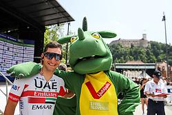 Jan Polanc (SLO) of UAE Team Emirates with Zmajcek - mascot of Ljubljana during 1st Stage of 26th Tour of Slovenia 2019 cycling race between Ljubljana and Rogaska Slatina (171 km), on June 19, 2019 in  Slovenia. Photo by Matic Klansek Velej / Sportida