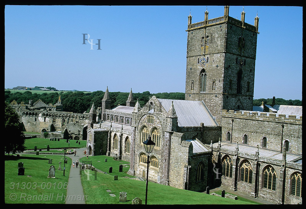 Overview: 12th-century St. Davids Cathedral, legendary pilgrimage where St. David founded 6th-C monastery; St. Davids, Wales.