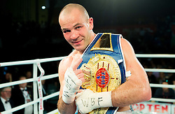 Dejan Zavec alias Jan Zaveck of Slovenia celebrates after winning against WBF World Champion Sasha Yengoyan (Blue) of Belgium at Fight for World WBF Champion during First Class Boxing event, on April 11, 2015 in Arena Tabor, Maribor, Slovenia. Photo by Vid Ponikvar / Sportida