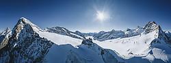 15.01.2020, Jungfrauenjoch, Wengen, SUI, FIS Weltcup Ski Alpin, Vorberichte, im Bild Panoramaaufnahme mit den Gipfeln des Eiger (3970m), Mönch (4107m), (Jungfraujoch (3466m), Jungfrau (4158m) im Hintergrund der Aletschgletscher im Berner Oberland // Panoramic picture with the peaks of the Eiger (3970m) (Mönch (4107m) Jungfraujoch (3466m) Jungfrau (4158m) in the background of the Aletsch Glacier in the Bernese Oberland during a preliminary reports prior to the FIS ski alpine world cup at the Jungfrauenjoch in Wengen, Switzerland on 2020/01/15. EXPA Pictures © 2020, PhotoCredit: EXPA/ Johann Groder **** ACHTUNG - dieses Bilddatei ist für den Grossformatdruck in einer maximalen Grösse mit mehr als 18142 x 6717 pixel (ca. 700 MB) verfügbar! Fragen Sie nach den hochauflösenden Daten // ATTENTION - This image file is for Large Format Printing available in a maximum size of more then 18142 x 6717 pixels (about 700 MB)! Ask for the high-resolution data. ****