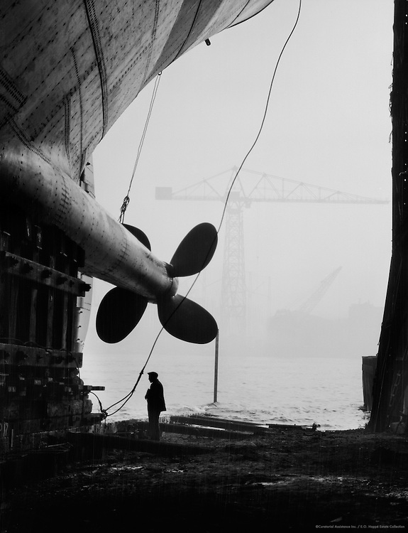 Worker Beneath Propeller, Swan Hunter & Wigham Richardson Shipyard, England, 1928