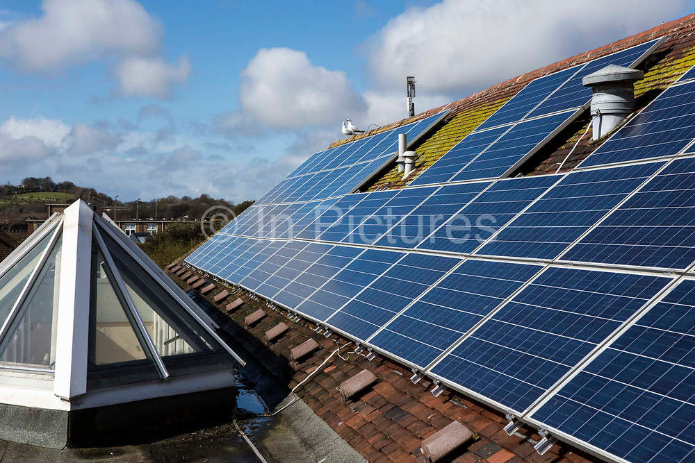 Solar PV Photo Voltaic panels on the roof of the Priory school in Lewes, East Sussex. Set up by  OVESCo community  investors. This panel, or module, is made up of photovoltaic (PV) cells. PV cells convert sunlight into electrical energy.