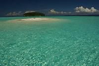 Terns rest on a sand islet near Kri Island in the Raja Ampat Islands, Indonesia