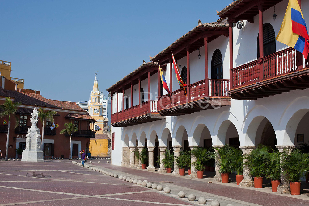 Street scene and historic Colonial architecture. Cartagena historic old city UNESCO World heritage site, capital of Bolivar department, Colombia.