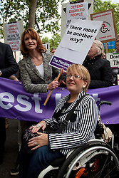 ©under licence to London News Pictures. Thousands of disabled people march through Central London on the Hardest Hit March to protest against budget cuts for sick and disabled people. In this picture: Actress Jane Asher  and actress Janine Fernandez (in wheelchair). 11/05/2011. Photo credit should read Bettina Strenske/LNP.
