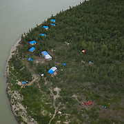 Research camp on the banks of the Nelson River, Manitoba, Canada