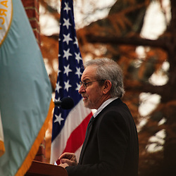 Gettysburg, PA, USA - November 11. 2012: Noted movie director Steven Spielberg speaks at the annual event commemorating Lincoln's Address at the Soldier's National Cemetery.