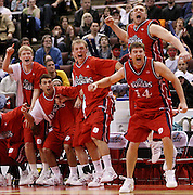 """The Brock University Badgers bench reacts as their team defeats the Acadia University Axemen 64-61 to win the 2008 CIS """"Final 8"""" Men's Basketball National Championship final at the Scotianbank in Ottawa on Sunday March 16, 2008..The Canadian Press/Sean Kilpatrick.."""