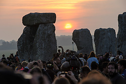 June 21, 2017 - Amesbury, Wiltshire, UK - Stonehenge, Amesbury, Wiltshire, UK. Summer Solstice celebrations at Stonehenge. Shortly after sunrise on the longest day of the year. (Credit Image: © Simon Chapman/London News Pictures via ZUMA Wire)