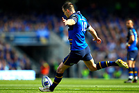 Rugby Union - 2017 / 2018 European Rugby Champions Cup - Semi-Final: Leinster vs. Scarlets<br /> <br /> Johnny Sexton of Leinster kicks a conversion at Aviva Stadium.<br /> <br /> COLORSPORT/KEN SUTTON