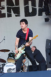 Guitarist Billie Joe Armstrong performs with his band Green Day at Gig on the Green 2001 on Sunday 26th August 2001, at <br /> Glasgow Green, Glasgow, Scotland.