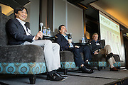 Panel members Bill Ng, Robert de Neve, and Richard Walkup, from left to right, discuss local manufacturing during the Silicon Valley Business Journal Power of Manufacturing Breakfast at the Silicon Valley Capital Club in San Jose, California, on January 24, 2017. (Stan Olszewski for Silicon Valley Business Journal)
