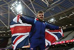 Great Britain's Kyron Duke celebrates winning bronze in the Men's Shot Put F41 Final during day seven of the 2017 World Para Athletics Championships at London Stadium.