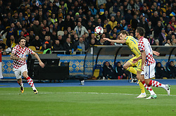 October 9, 2017 - Kiev, Ukraine - Ukraine's Oleksandr Karavaev in action against Croatia's Dejan Lovren (R)  during the FIFA 2018 World Cup Group I Qualifier between Ukraine and Croatia at Kiev Olympic Stadium on October 9, 2017 in Kiev, Ukraine. Ukraine fail to reach the play-offs as they lose 2-0. (Credit Image: © Sergii Kharchenko/NurPhoto via ZUMA Press)