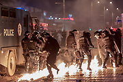 Jan. 27, 2015 - Prishtina, Kosovo - Riot police clash with thousands of anti-government protesters who demand the dismissal of a Serb Communities Minister Jablanovic to quit, after he called some ethnic Albanians 'savage' for trying to block a Serb pilgrimage. (Credit Image: © Vedat Xhymshiti/ZUMA Wire)