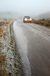 © Licensed to London News Pictures. 20/01/2020. Howey, Powys, Wales, UK. A 4 wheel-drive vehicle negotiates the treacherous icy conditions at dawn on a mountain road near Howey in Powys, Wales, UK. Photo credit: Graham M. Lawrence/LNP