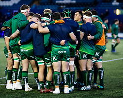 Connacht forwards huddle during the pre match warm up<br /> <br /> Photographer Simon King/Replay Images<br /> <br /> Guinness PRO14 Round 14 - Cardiff Blues v Connacht - Saturday 26th January 2019 - Cardiff Arms Park - Cardiff<br /> <br /> World Copyright © Replay Images . All rights reserved. info@replayimages.co.uk - http://replayimages.co.uk