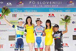 Second placed Wesley Sulzberge (AUS) of Orica-Green Edge, winner Fabio Felline (ITA) of Androni-Ciocattoli and third placed Hurtado Jhon Darwin Atapuma (COL) of Colombia Coldeportes during flower ceremony after the Stage 2 from Kocevje to Visnja Gora (168,5 km) of cycling race 20th Tour de Slovenie 2013,  on June 14, 2013 in Slovenia. (Photo By Vid Ponikvar / Sportida)