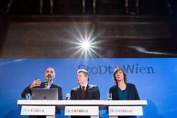 """12.03.2019, Rathaus, Wien, AUT, Stadt Wien, Mediengespräch des Bürgermeisters zum Thema """"Wien startet Präventionsprogramm an Schulen"""". im Bild Soziologe Kenan Güngör, Bürgermeister Michael Ludwig (SPÖ) und Gemeinderätin Birgit Hebein (Grüne) // during press conference of the mayor of vienna at City Halll in Vienna, Austria on 2019/03/12. EXPA Pictures © 2019, PhotoCredit: EXPA/ Michael Gruber"""