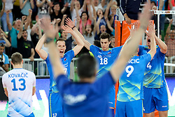 Players of Slovenia celebrate after volleyball match between National teams of Slovenia and Belgium in 2nd Round of 2018 FIVB Volleyball Men's World Championship qualification, on May 28, 2017 in Arena Stozice, Ljubljana, Slovenia. Photo by Morgan Kristan / Sportida