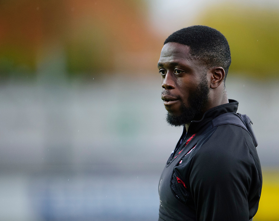 Lincoln City's John Akinde during the pre-match warm-up<br /> <br /> Photographer Andrew Vaughan/CameraSport<br /> <br /> The EFL Sky Bet League One - AFC Wimbledon v Lincoln City - Saturday 2nd November 2019 - Kingsmeadow Stadium - London<br /> <br /> World Copyright © 2019 CameraSport. All rights reserved. 43 Linden Ave. Countesthorpe. Leicester. England. LE8 5PG - Tel: +44 (0) 116 277 4147 - admin@camerasport.com - www.camerasport.com