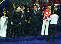 Croatia President Olinda Grabar-Kitarovic on the stage with Fifa President Giovanni Infantino, Russian Federation President Vladimir Putin and French President Emmanuel Macron congratulating Zlatko Dalic (Croatia)<br /> Celebration Victory France <br /> Moscow 15-07-2018 Football FIFA World Cup Russia  2018 Final / Finale <br /> France - Croatia / Francia - Croazia <br /> Foto Matteo Ciambelli/Insidefoto