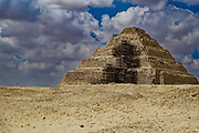 The step Pyramid of Djoser, at Saqqara, Egypt. Saqqara was an ancient burial ground in Egypt, serving as the necropolis for the Ancient Egyptian capital of Memphis