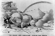 The Balls are Rolling - Clear the Track 1856 . A Republican boast, showing Millard Fillmore (left) and James Buchanan crushed by an electoral flood of giant balls inscribed with the names of Northern and Western States. Nathaniel Currier