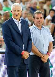 Nar Zanolin of FIBA Europe and Roman Volcic during friendly basketball match between National teams of Slovenia and Montenegro of Adecco Ex-Yu Cup 2011 as part of exhibition games before European Championship Lithuania 2011, on August 7, 2011, in Arena Stozice, Ljubljana, Slovenia. Slovenia defeated Crna Gora 86-79. (Photo by Vid Ponikvar / Sportida)