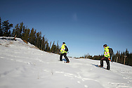 Photo Randy Vanderveen.Grande Prairie, Alberta.Snowshoes are a necessary accessory for BJ Galbraith and Mackenzie Fleetham as they head out in the survey plots where the snow is deep.