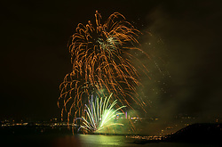 © Licensed to London News Pictures. 14/08/2019; Plymouth, Devon, UK. Day one of the British Fireworks Championships, with the second display by Phoenix. The third display was cancelled due to technical difficulties. Meanwhile two people are under police investigation after drones were flown on Wednesday night. Police have said two separate members of the public were identified and stopped while flying drones over The Hoe during the event, which is a criminal offence. The British Fireworks Championships is one of the biggest firework displays in the country, held in Plymouth Sound each August when firework companies from across the UK compete for the best display. The British Fireworks Championships began in 1997 and Plymouth Sound harbour was chosen for the location as it provides a natural amphitheatre for large scale pyrotechnics that can be used safely away from the public but watched from many viewpoints around the Sound'. Photo credit: Simon Chapman/LNP.
