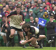 Leicester, Leicestershire, 3rd May 2003, Welford Road Stadium, [Mandatory Credit: Peter Spurrier/Intersport Images],Zurich Premiership Rugby - Leicester Tigers v London Irish<br /> Kiron Dawson tackled as Simon Halford runs up in support