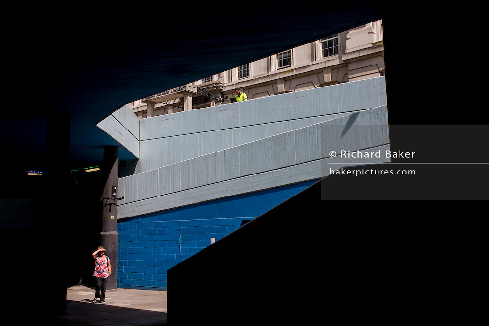 Brutalist underpass architecture at Waterloo, central London.