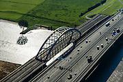 Nederland, Utrecht, Gemeente Vianen, 30-09-2015; rivier de Lek en Lekbrug Vianen (Jan Blankenbrug). <br /> <br /> Bridge acrosse river Lek (extension of lower Rhine), near Utrecht.<br /> <br /> luchtfoto (toeslag op standard tarieven);<br /> aerial photo (additional fee required);<br /> copyright foto/photo Siebe Swart