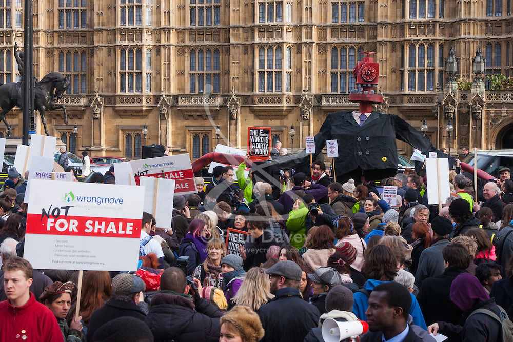 Old Palace Yard, Westminster, Janury 26th 2015. As parliament is set to vote on fracking laws