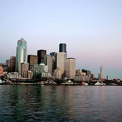 Aerial photograph of Seattle Washington at sunset