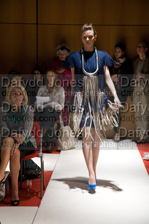 Clothes designed by James D. Pegg, Fashioning the Future. Sustainable Fashion show Winners of Adidi.com student design competition announced. London College of Fashion. Princes St. London. 27 October 2008.  *** Local Caption *** -DO NOT ARCHIVE-© Copyright Photograph by Dafydd Jones. 248 Clapham Rd. London SW9 0PZ. Tel 0207 820 0771. www.dafjones.com.
